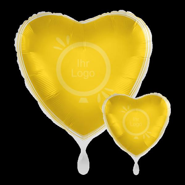 1 Werbeballon - Herz, Ø 43cm, 2-Seitig - Satin - Gelb