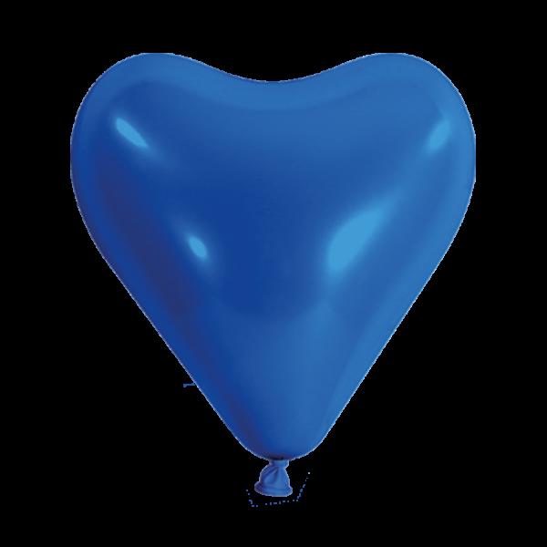 100 Herzballons - Ø 30cm - Blau