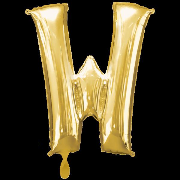 1 Ballon XXL - Buchstabe W - Gold