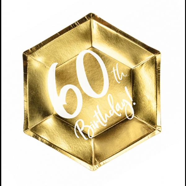 6 Pappteller Trend - Ø 20cm - 60th Birthday