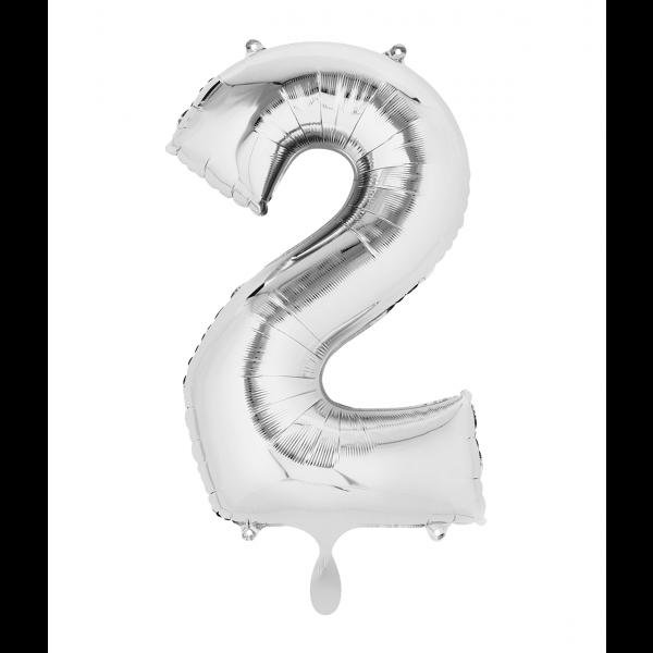 1 Ballon XL - Zahl 2 - Silber