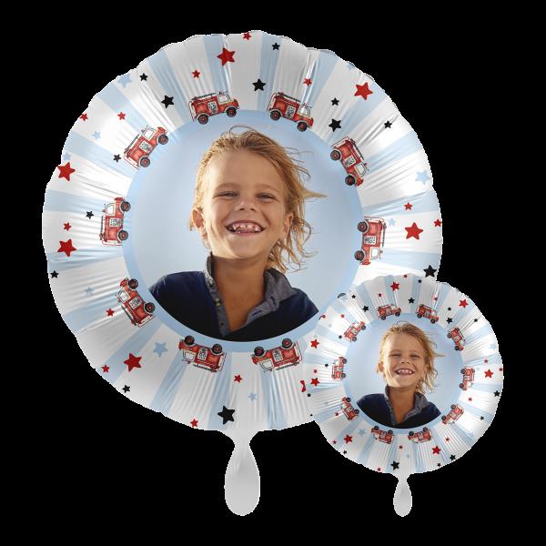 1 Ballon mit Foto - Happy Fire Engine