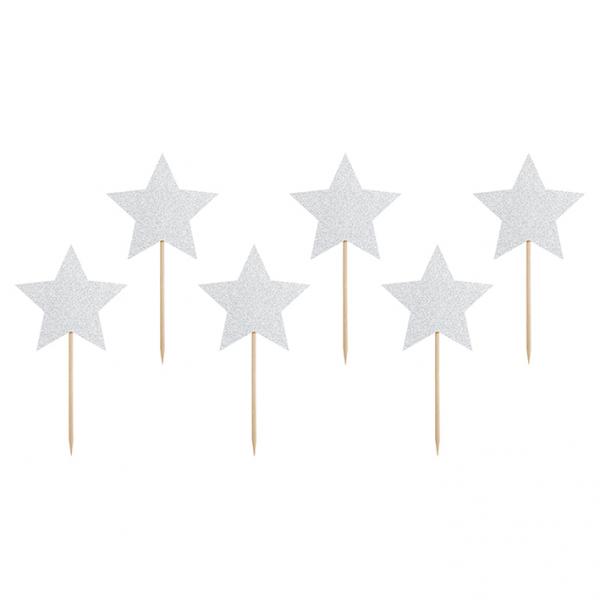 6 Cake Topper - Stars - Silber