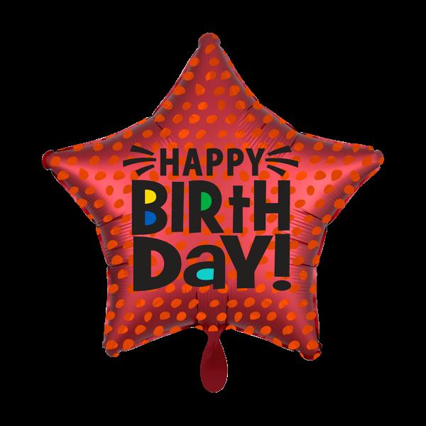 1 Ballon - Satin Infused Star Birthday