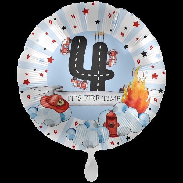 1 Ballon XXL - Happy Fire Engine - Vier