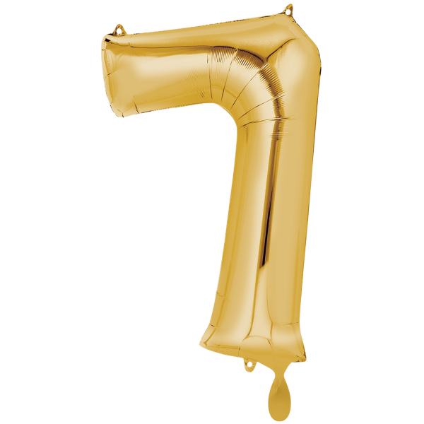 1 Ballon XXL - Zahl 7 - Gold
