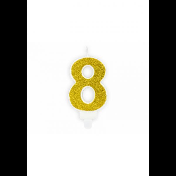 1 Kuchenkerze - Zahl 8 - Gold