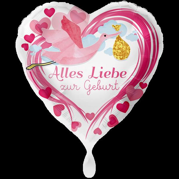 1 Ballon XXL - Alles Liebe zur Geburt Pink