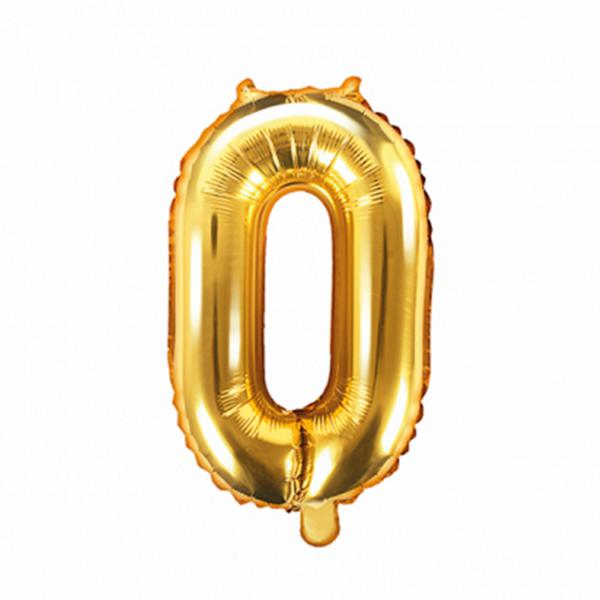 1 Ballon XS - Zahl 0 - Gold