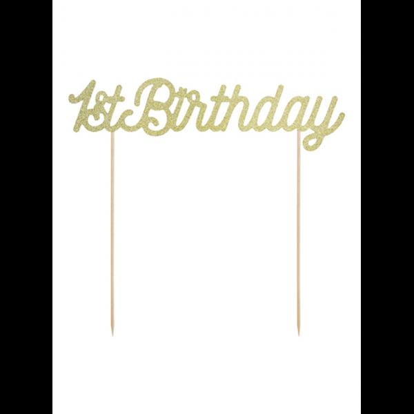1 Cake Topper - 1st Birthday - Gold
