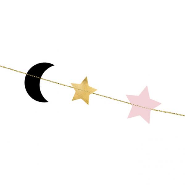 1 Papiergirlande - 1,9m - Stars & Moon