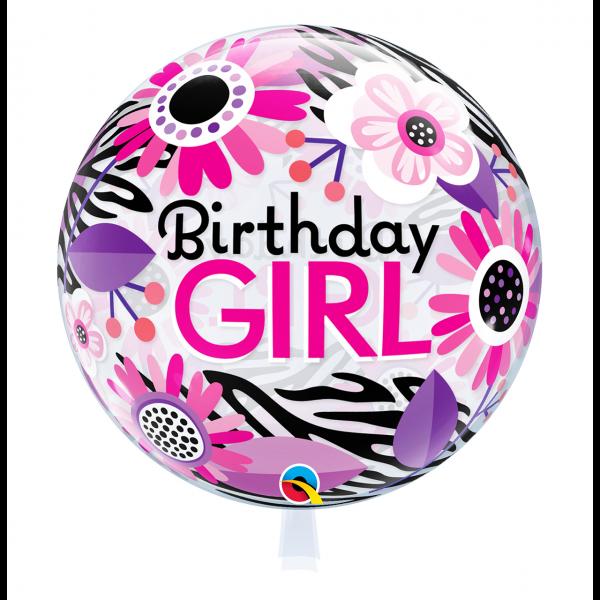 1 Bubble Ballon - Birthday Girl Floral Zebra Stripes