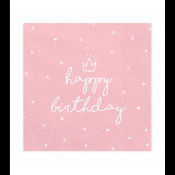 20 Servietten Trend - 33cm - Happy Birthday Rosa