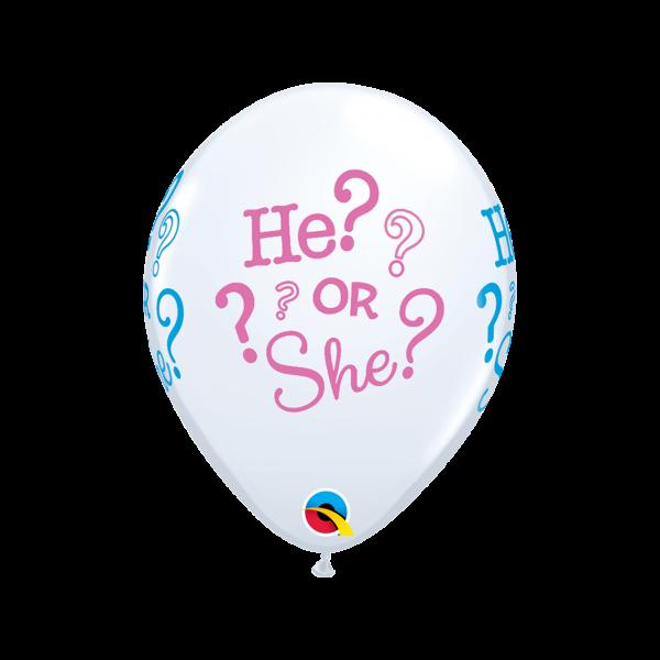 6 Motivballons - Ø 27cm - He or She