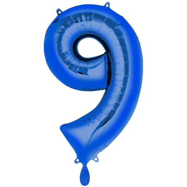 1 Ballon XXL - Zahl 9 - Blau