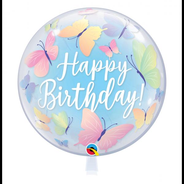 1 Bubble Ballon - Birthday Soft Butterflies