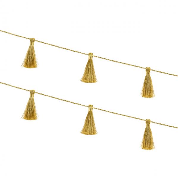 1 Tasselgirlande - 1,9m - Modern Gold