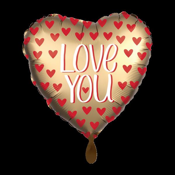 1 Ballon - Satin Love You Gold