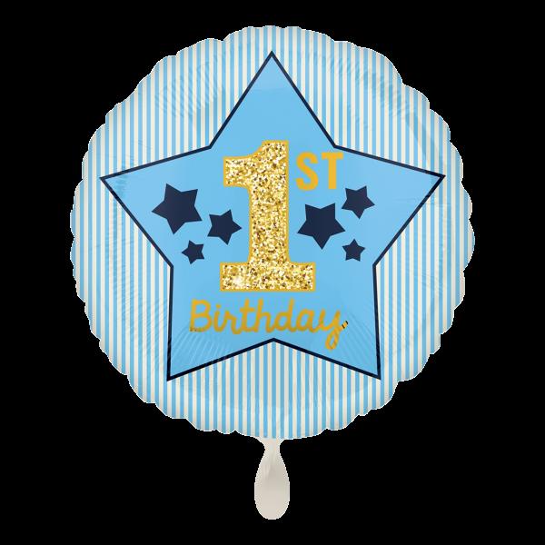 1 Ballon - Boy 1st Birthday Blue & Gold