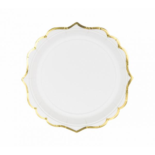 6 Pappteller Trend - Ø 18cm - Weiß & Gold