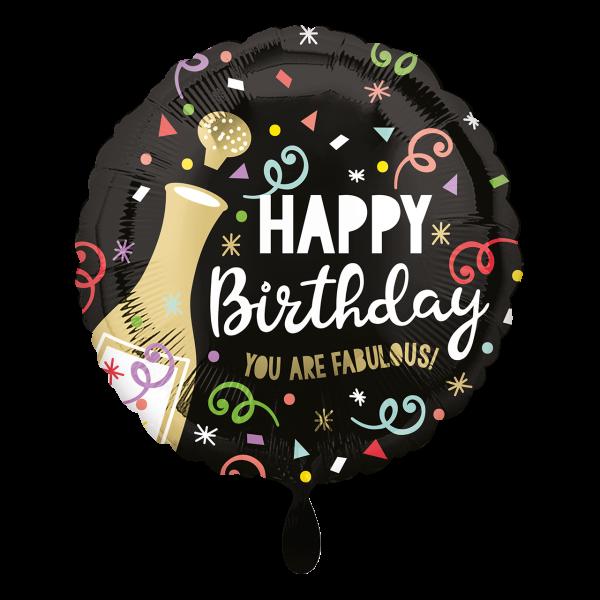 1 Ballon - Happy Birthday Gold Bubbly