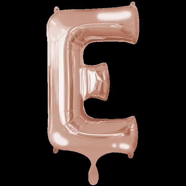 1 Ballon XXL - Buchstabe E - Rosegold
