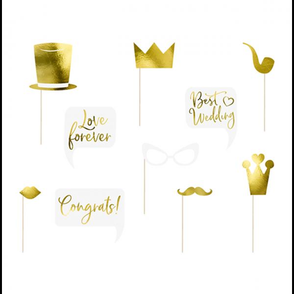 1 Photobooth Set - Wedding Gold