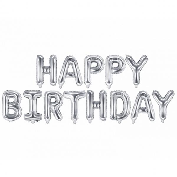 1 Ballon - Schriftzug - Happy Birthday - Silber