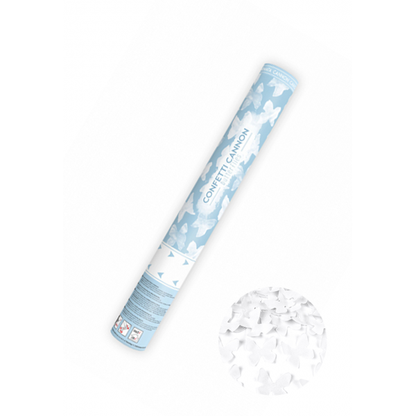 1 Konfettikanone - 40cm - Papier - Butterflies - Weiß