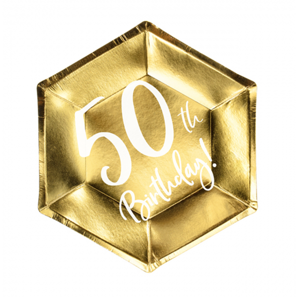 6 Pappteller Trend - Ø 20cm - 50th Birthday
