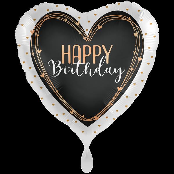 1 Ballon XXL - Happy Birthday Elegant Hearts