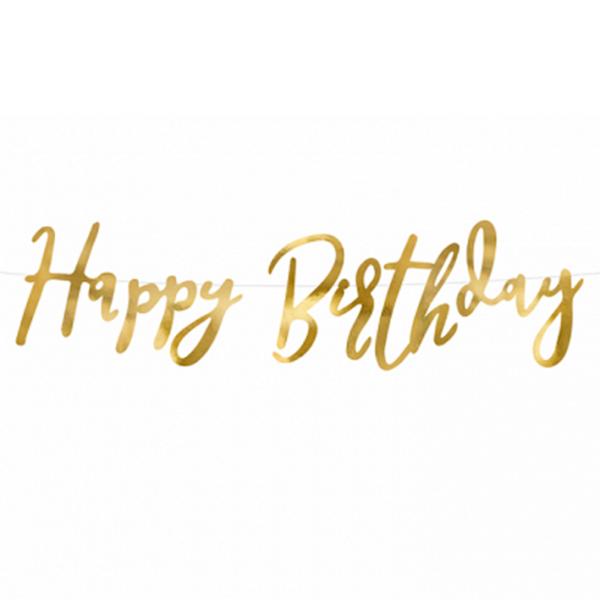 1 Bannergirlande - Happy Birthday - Gold