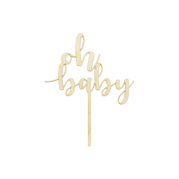 1 Cake Topper - Holz - Oh baby