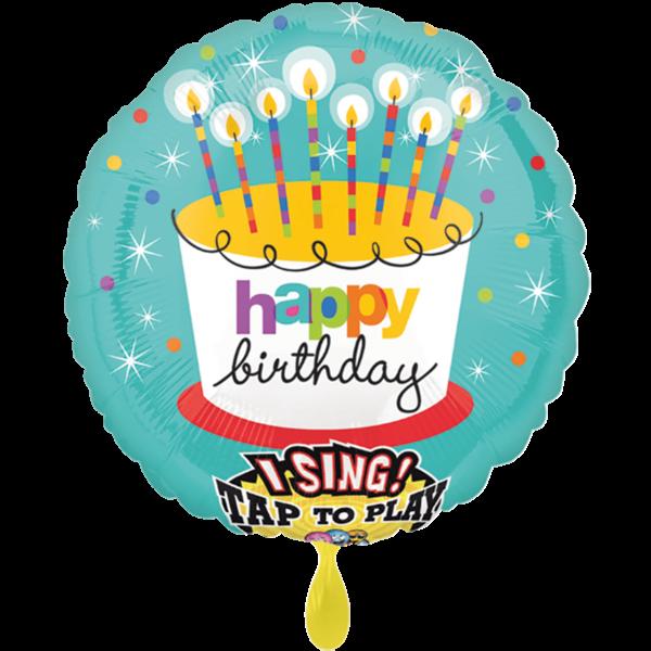 1 Musikballon - Striped Birthday Candles