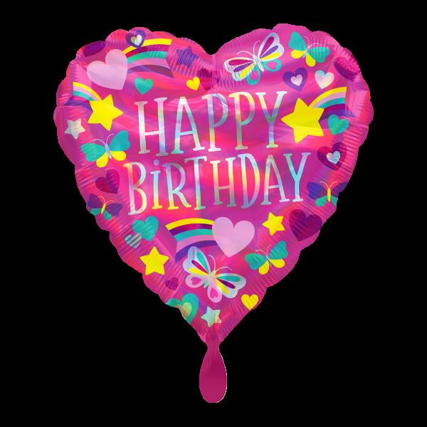 1 Ballon - Iridescent HBD Rainbow Hearts
