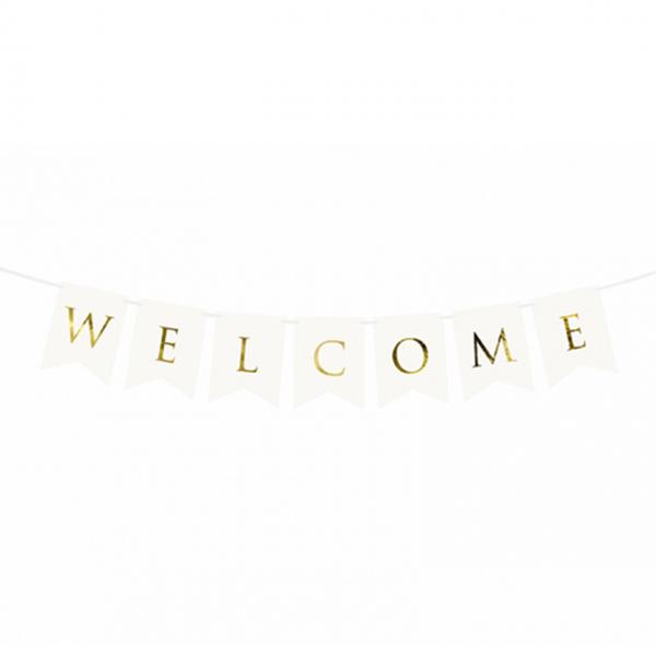 1 Bannergirlande - Welcome - Weiß
