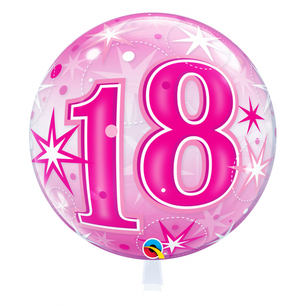 1 Bubble Ballon - 18 Pink Starburst Sparkle