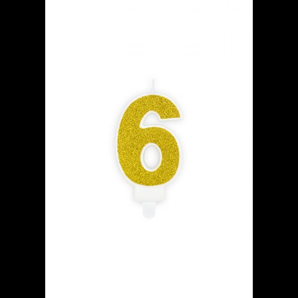 1 Kuchenkerze - Zahl 6 - Gold