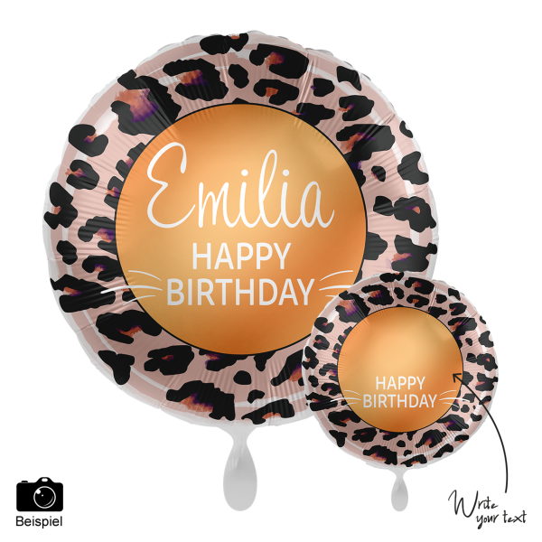 1 Ballon - Personalize IT - Happy Birthday Leoprint
