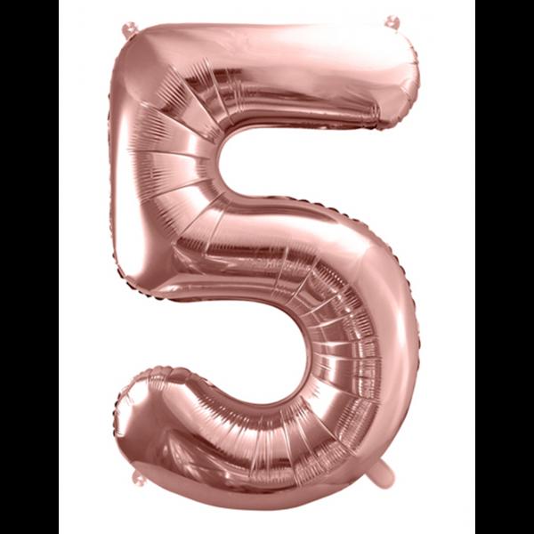 1 Ballon XXL - Zahl 5 - Rosegold