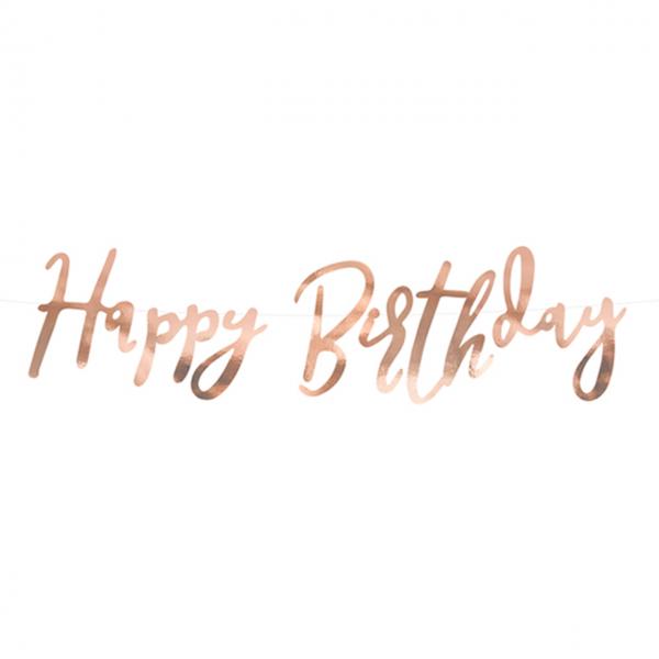 1 Bannergirlande - Happy Birthday - Rosegold