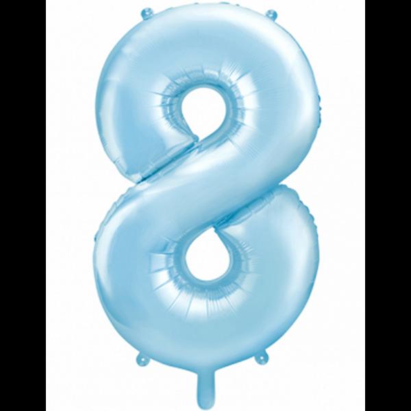 1 Ballon XXL - Zahl 8 - Hellblau