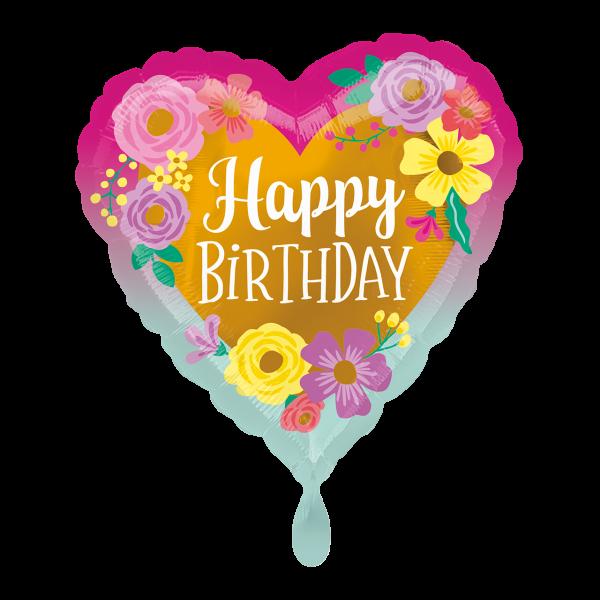 1 Ballon - Happy Birthday Painted Flowers