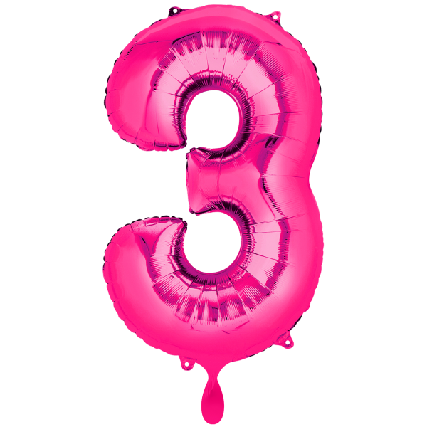 1 Ballon XXL - Zahl 3 - Pink