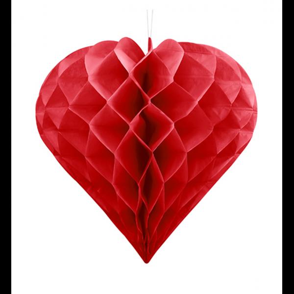 1 Wabenball XXL - Ø 30cm - Herz - Rot