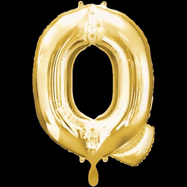 1 Ballon XXL - Buchstabe Q - Gold