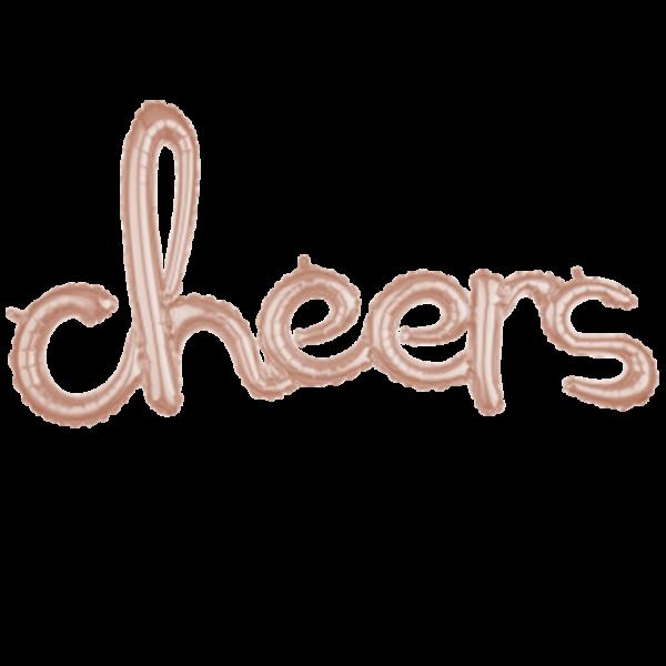 1 Ballon - Schriftzug cheers - Rosegold - Ø 93cm