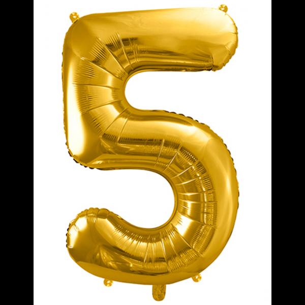 1 Ballon XXL - Zahl 5 - Gold