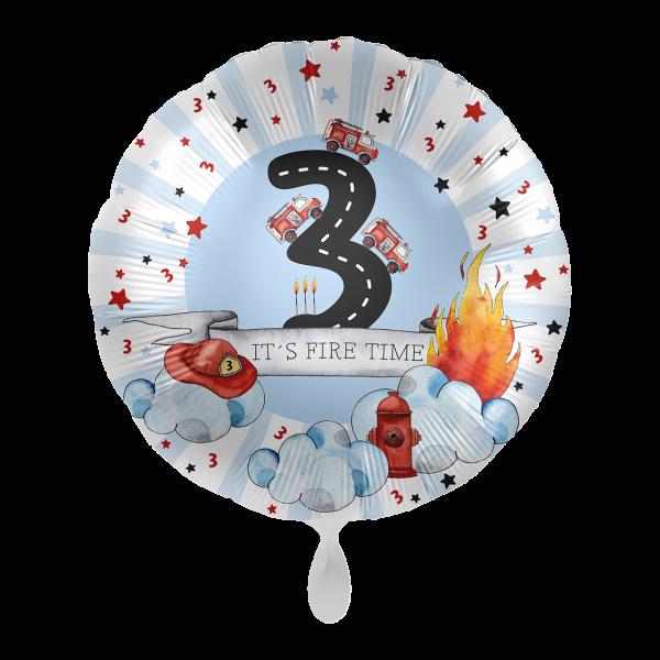 1 Ballon - Happy Fire Engine - Drei