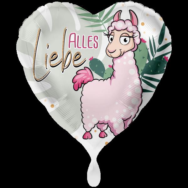 1 Ballon XXL - Rosa Lama Alles Liebe
